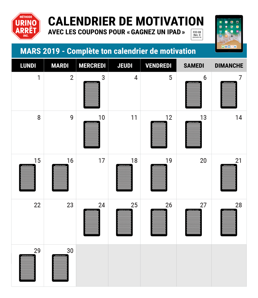 Calendrier de motivation du traitement de l'énurésie de la Méthode Urino-Arrêt
