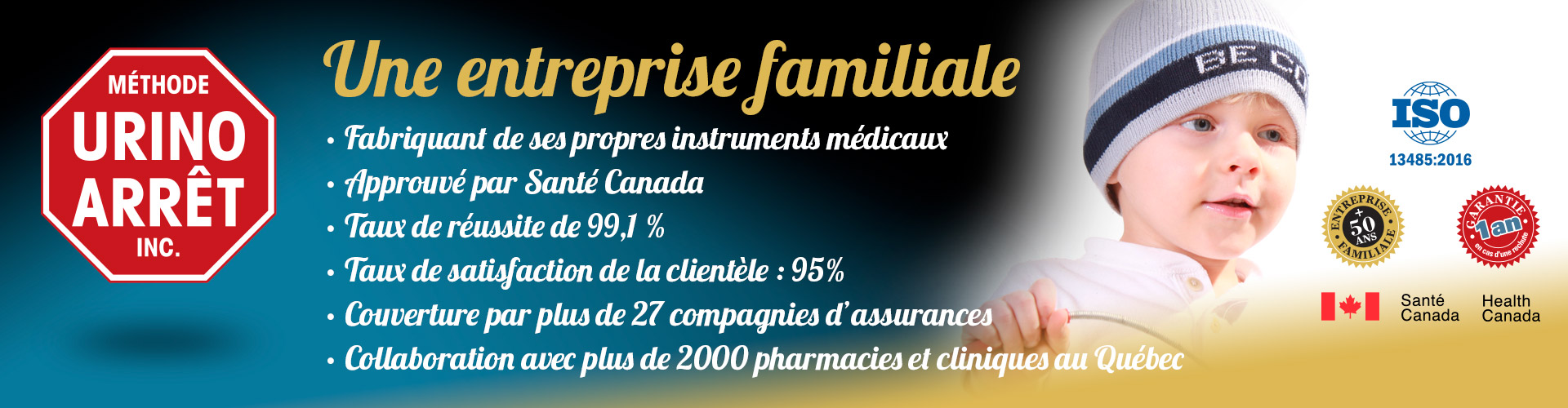Profil de l'entreprise Méthode Urino-Arrêt, 99,1% d'efficacité, approuvé Santé Canada.