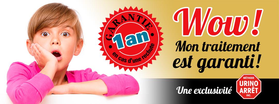 Traitement contre le pipi au lit Urino-Arrêt. Garantie de 1 an en cas de rechute.