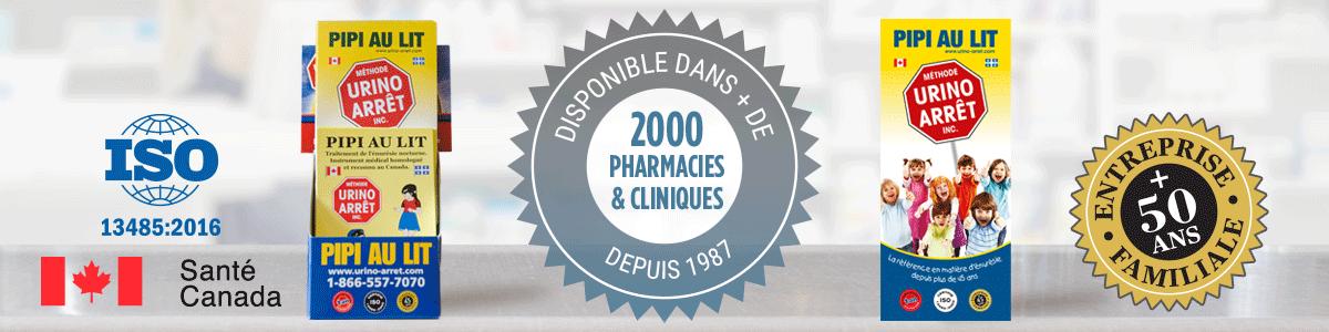 Présentoir et dépliant Urino-Arrêt, disponibles dans plus de 2000 pharmacies et cliniques depuis 1987.