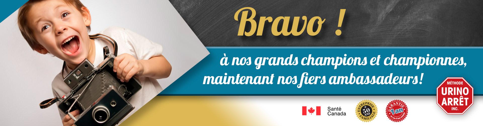 Photos et témoignages de nos jeunes champions et championnes de la Méthode Urino-Arrêt. Certifié ISO. Homologué Santé Canada.