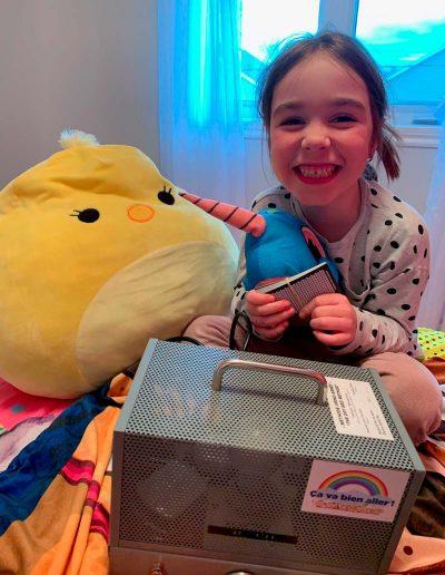 Anne-Sophie très fière de participer au tirage d'un iPad grâce à sa victoire contre son énurésie.